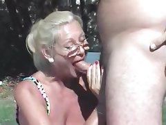 Blonde, Cumshot, Mature, Granny